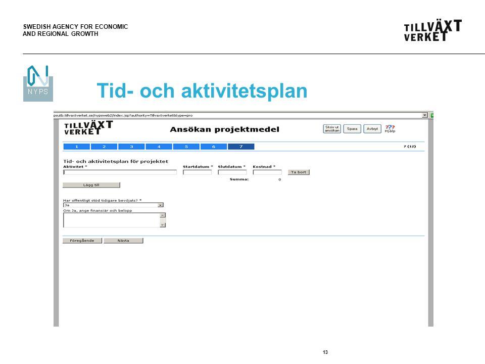 SWEDISH AGENCY FOR ECONOMIC AND REGIONAL GROWTH 13 Tid- och aktivitetsplan