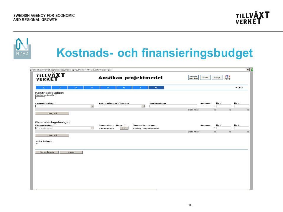 SWEDISH AGENCY FOR ECONOMIC AND REGIONAL GROWTH 14 Kostnads- och finansieringsbudget