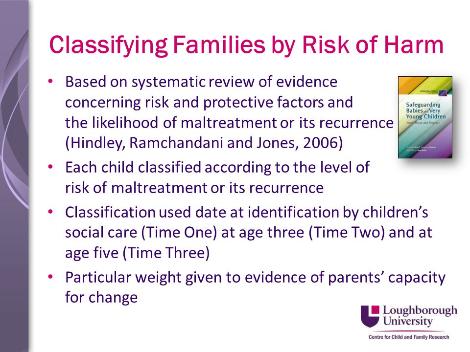 Classifying Families by Risk of Harm Based on systematic review of evidence concerning risk and protective factors and the likelihood of maltreatment or its recurrence (Hindley, Ramchandani and Jones, 2006) Each child classified according to the level of risk of maltreatment or its recurrence Classification used date at identification by children's social care (Time One) at age three (Time Two) and at age five (Time Three) Particular weight given to evidence of parents' capacity for change