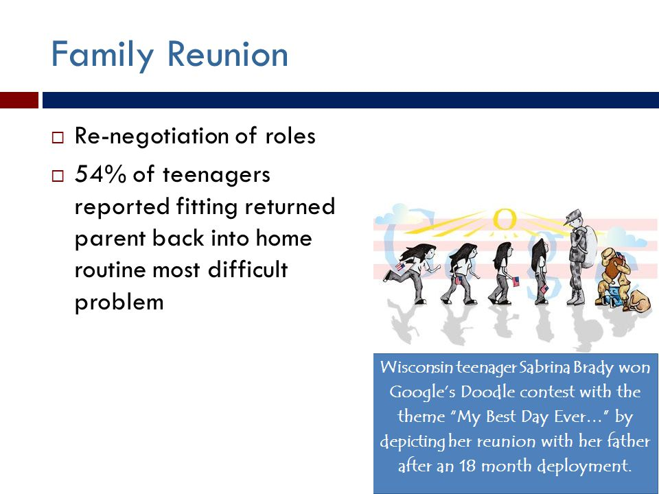 Family Reunion  Re-negotiation of roles  54% of teenagers reported fitting returned parent back into home routine most difficult problem