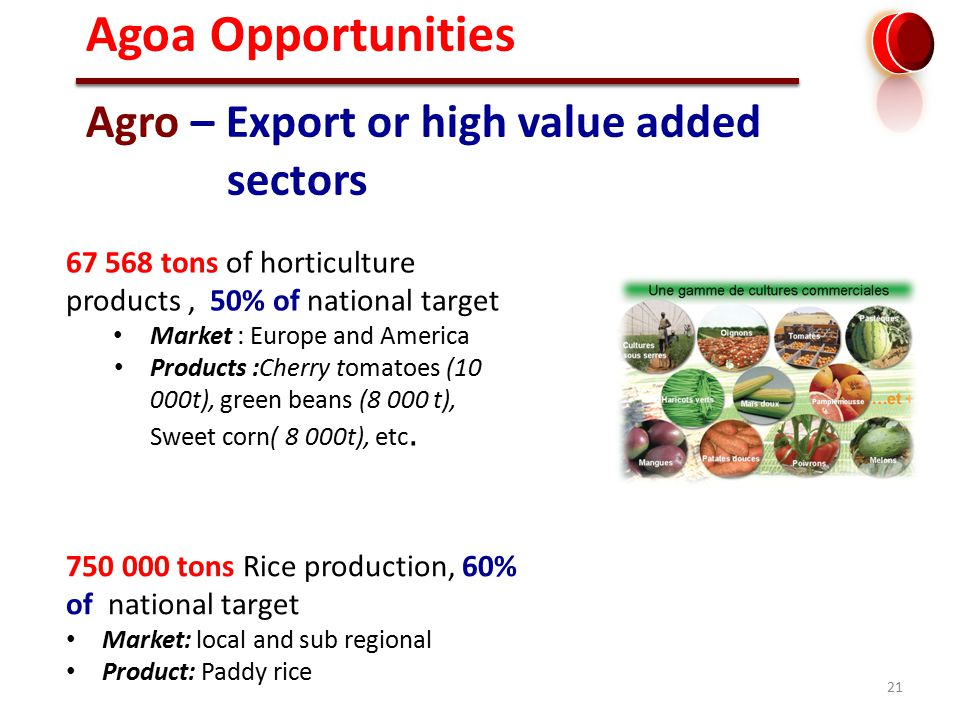 21 Agro – Export or high value added sectors 67 568 tons of horticulture products, 50% of national target Market : Europe and America Products :Cherry tomatoes (10 000t), green beans (8 000 t), Sweet corn( 8 000t), etc.