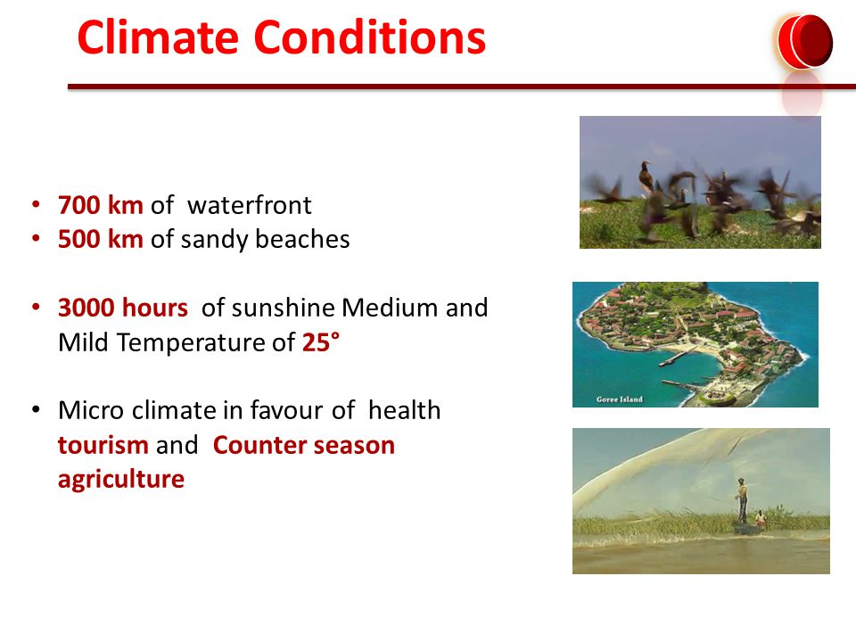 700 km of waterfront 500 km of sandy beaches 3000 hours of sunshine Medium and Mild Temperature of 25° Micro climate in favour of health tourism and Counter season agriculture Climate Conditions