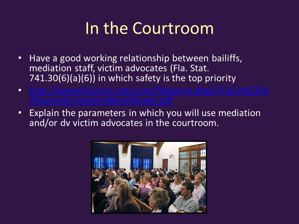 In the Courtroom Have a good working relationship between bailiffs, mediation staff, victim advocates (Fla.