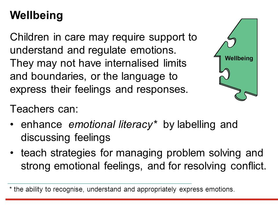 Wellbeing Children in care may require support to understand and regulate emotions.