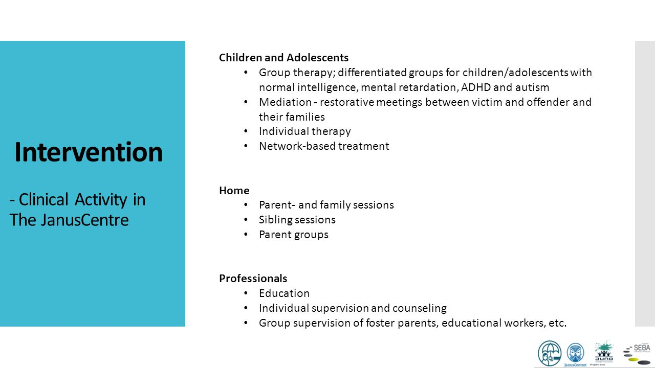 Intervention - Clinical Activity in The JanusCentre Children and Adolescents Group therapy; differentiated groups for children/adolescents with normal