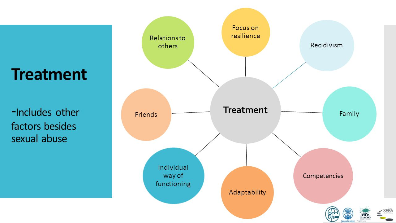 Treatment - Includes other factors besides sexual abuse Treatment Focus on resilience Recidivism Family Competencies Adaptability Individual way of fu