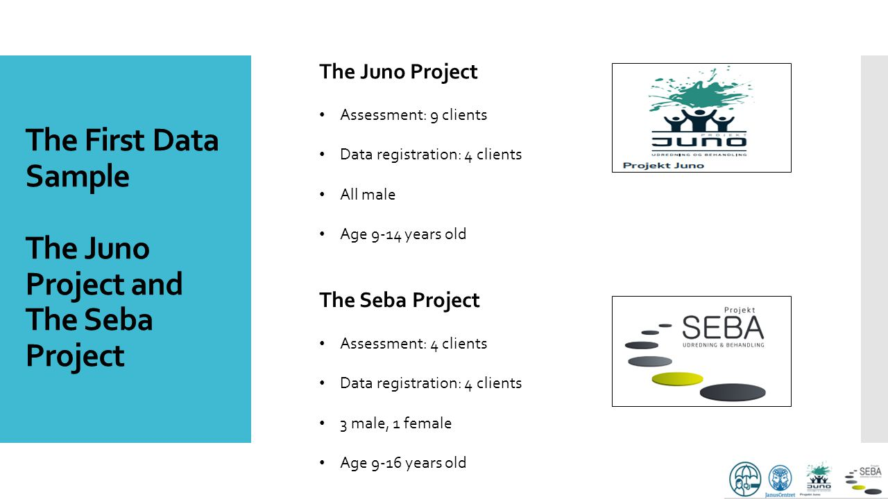 The First Data Sample The Juno Project and The Seba Project The Juno Project Assessment: 9 clients Data registration: 4 clients All male Age 9-14 year