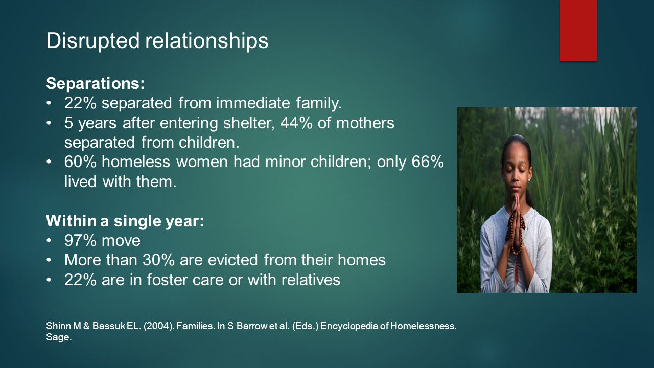 Disrupted relationships Separations: 22% separated from immediate family.