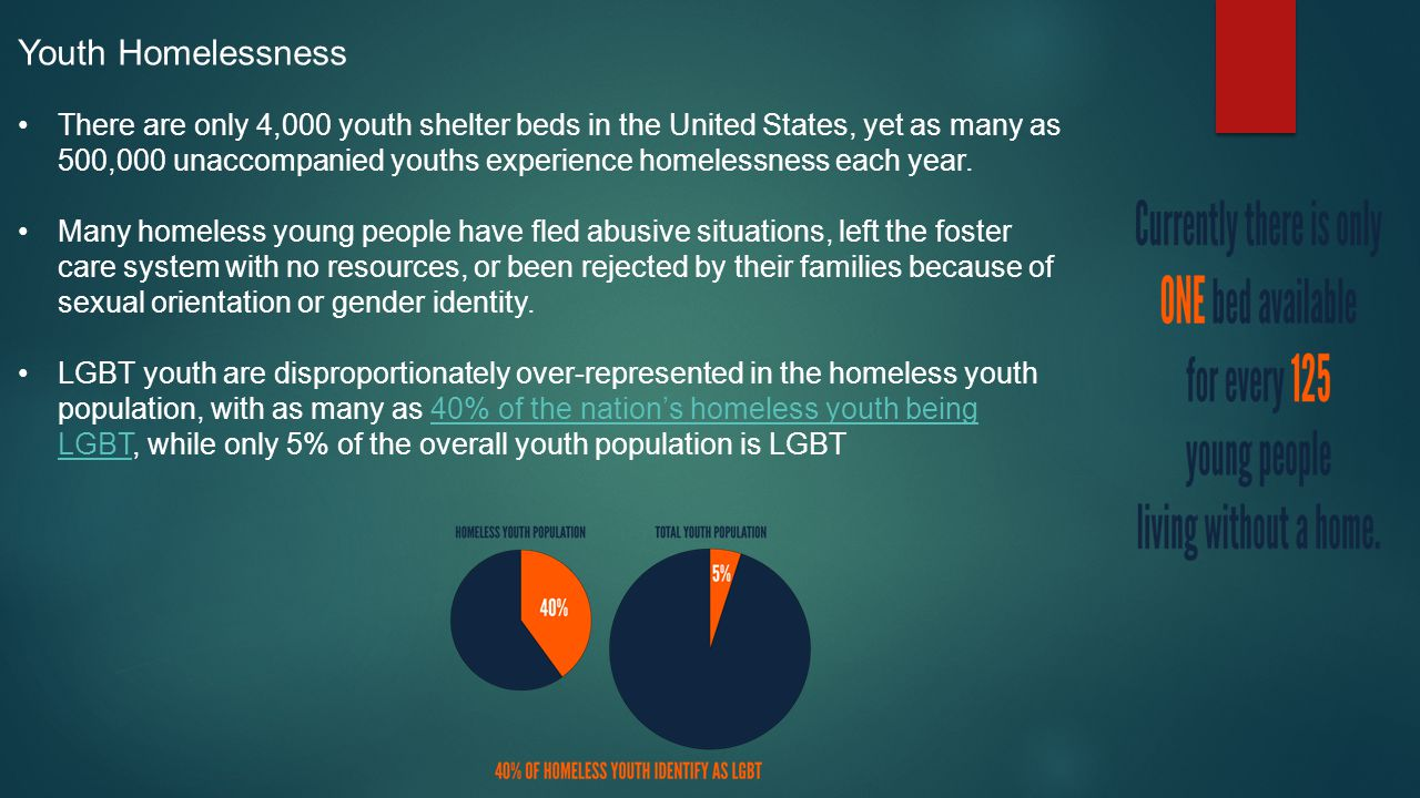 Youth Homelessness There are only 4,000 youth shelter beds in the United States, yet as many as 500,000 unaccompanied youths experience homelessness each year.