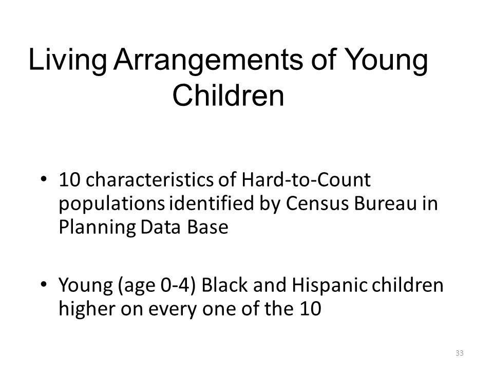 Living Arrangements of Young Children 10 characteristics of Hard-to-Count populations identified by Census Bureau in Planning Data Base Young (age 0-4) Black and Hispanic children higher on every one of the 10 33
