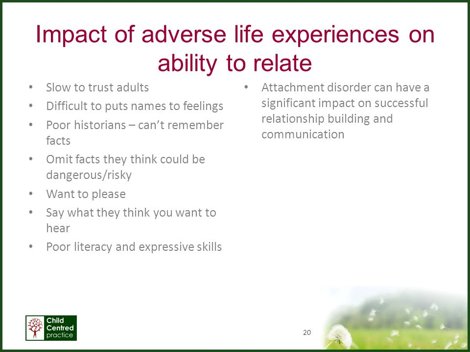 Impact of adverse life experiences on ability to relate Slow to trust adults Difficult to puts names to feelings Poor historians – can't remember fact