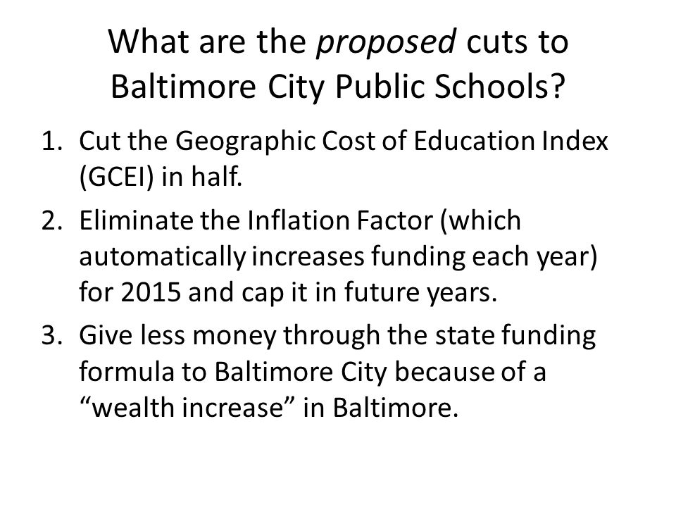 What are the proposed cuts to Baltimore City Public Schools.