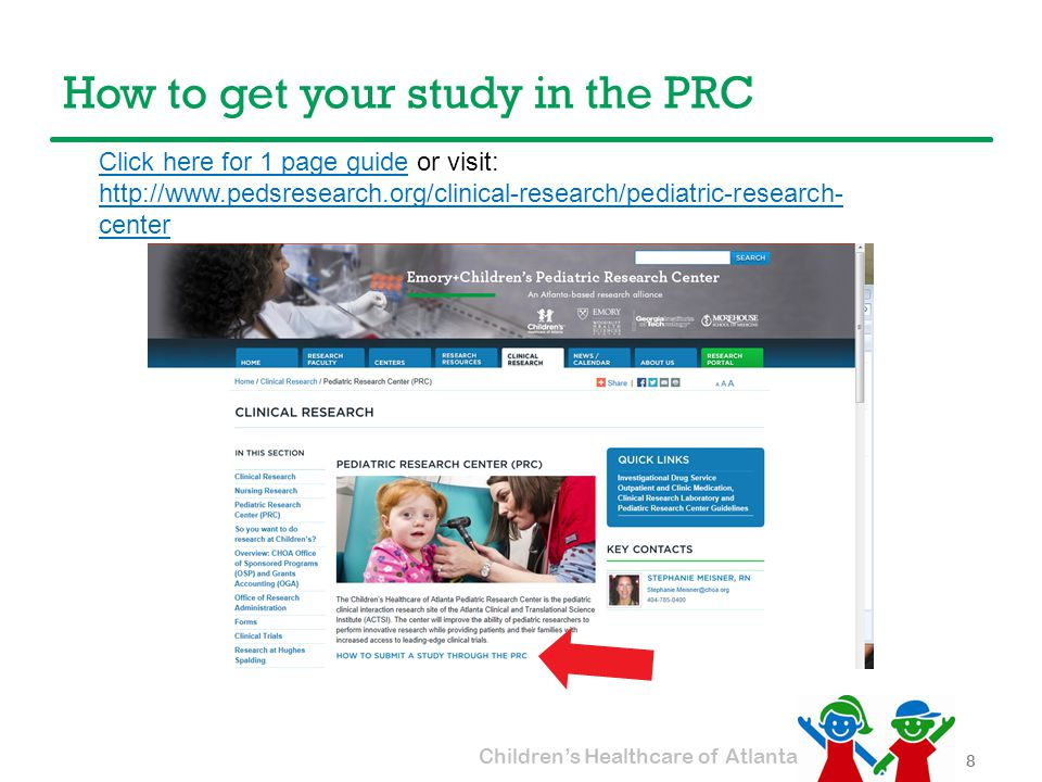 Children's Healthcare of Atlanta How to get your study in the PRC 9 PRC1PAGEPRC1PAGE