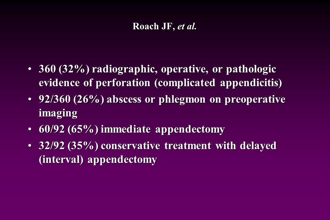Roach JP, et al. Complicated appendicitis in children: a clear role for drainage and delayed appendectomy. Am J Surg 194:769-773, 2007 Retrospective r