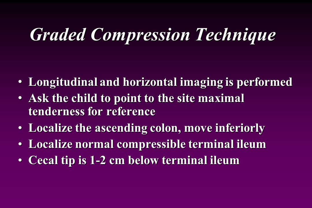Graded Compression Technique Puylaert JB: Acute appendicitis: US evaluation using graded Compression.