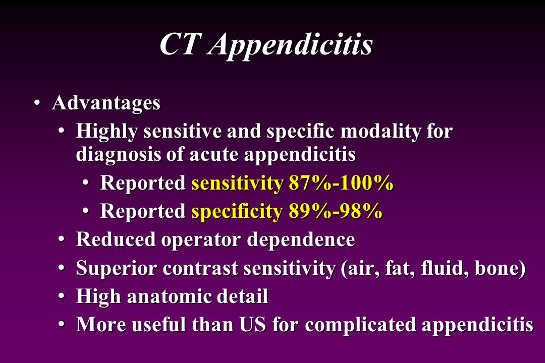 Appendicitis: Imaging Evaluation Computerized Tomography