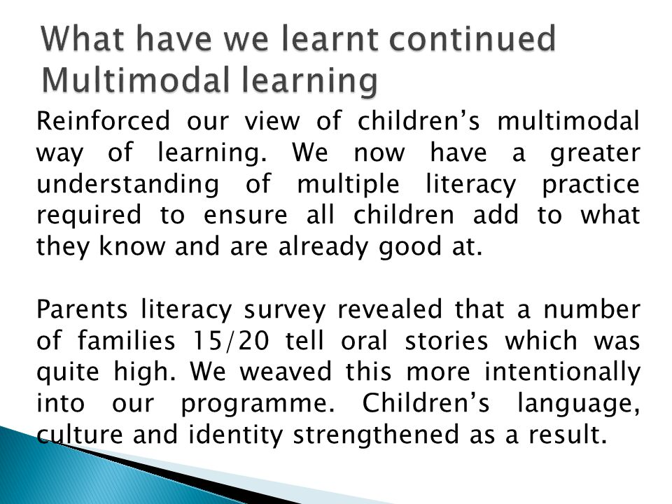 Reinforced our view of children's multimodal way of learning.
