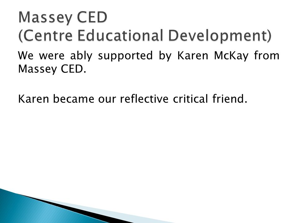 We were ably supported by Karen McKay from Massey CED. Karen became our reflective critical friend.
