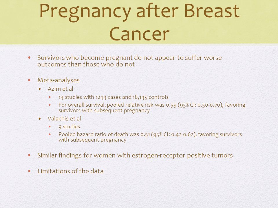 Pregnancy after Breast Cancer Survivors who become pregnant do not appear to suffer worse outcomes than those who do not Meta-analyses Azim et al 14 studies with 1244 cases and 18,145 controls For overall survival, pooled relative risk was 0.59 (95% CI: 0.50-0.70), favoring survivors with subsequent pregnancy Valachis et al 9 studies Pooled hazard ratio of death was 0.51 (95% CI: 0.42-0.62), favoring survivors with subsequent pregnancy Similar findings for women with estrogen-receptor positive tumors Limitations of the data