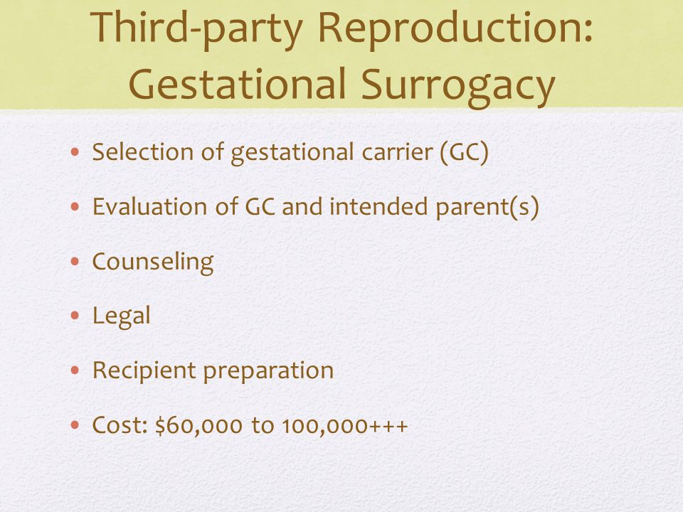 Third-party Reproduction: Gestational Surrogacy Selection of gestational carrier (GC) Evaluation of GC and intended parent(s) Counseling Legal Recipient preparation Cost: $60,000 to 100,000+++
