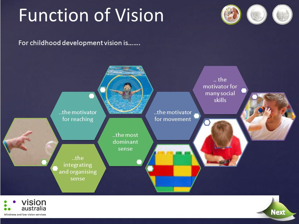 Function of Vision..the integrating and organising sense..the most dominant sense..the motivator for reaching..the motivator for movement.. the motiva