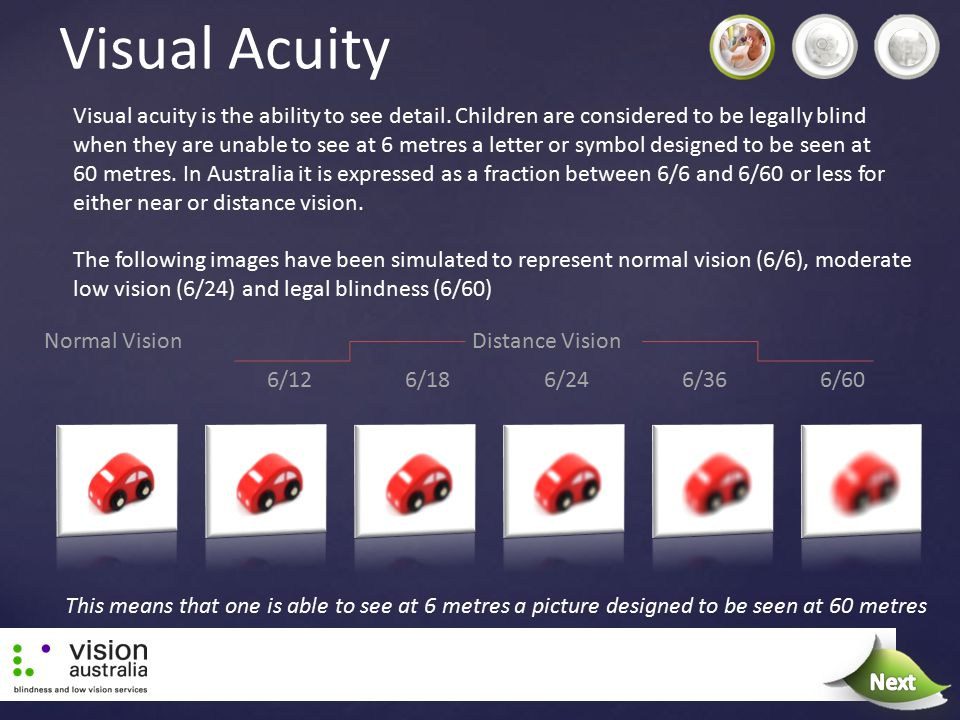 Visual Acuity Visual acuity is the ability to see detail. Children are considered to be legally blind when they are unable to see at 6 metres a letter