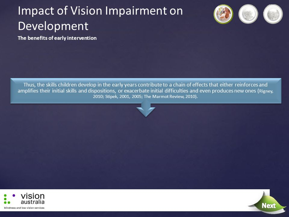 Impact of Vision Impairment on Development Thus, the skills children develop in the early years contribute to a chain of effects that either reinforce