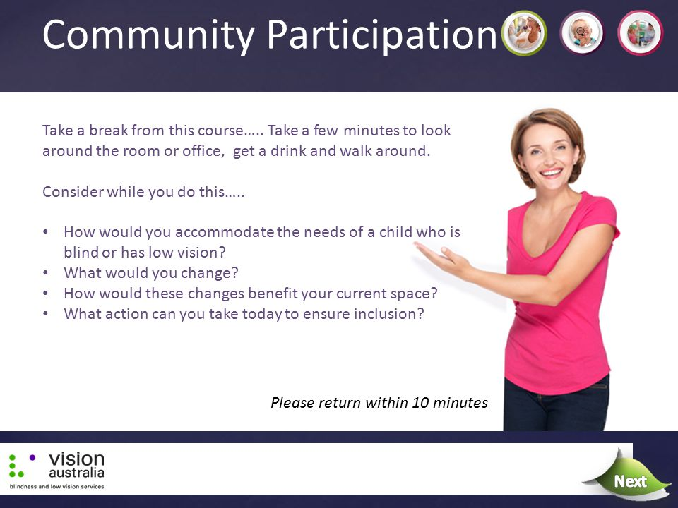Community Participation Take a break from this course….. Take a few minutes to look around the room or office, get a drink and walk around. Consider w