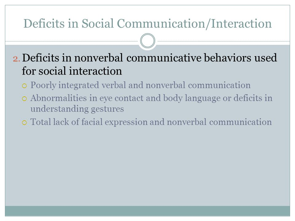 Deficits in Social Communication/Interaction 2.