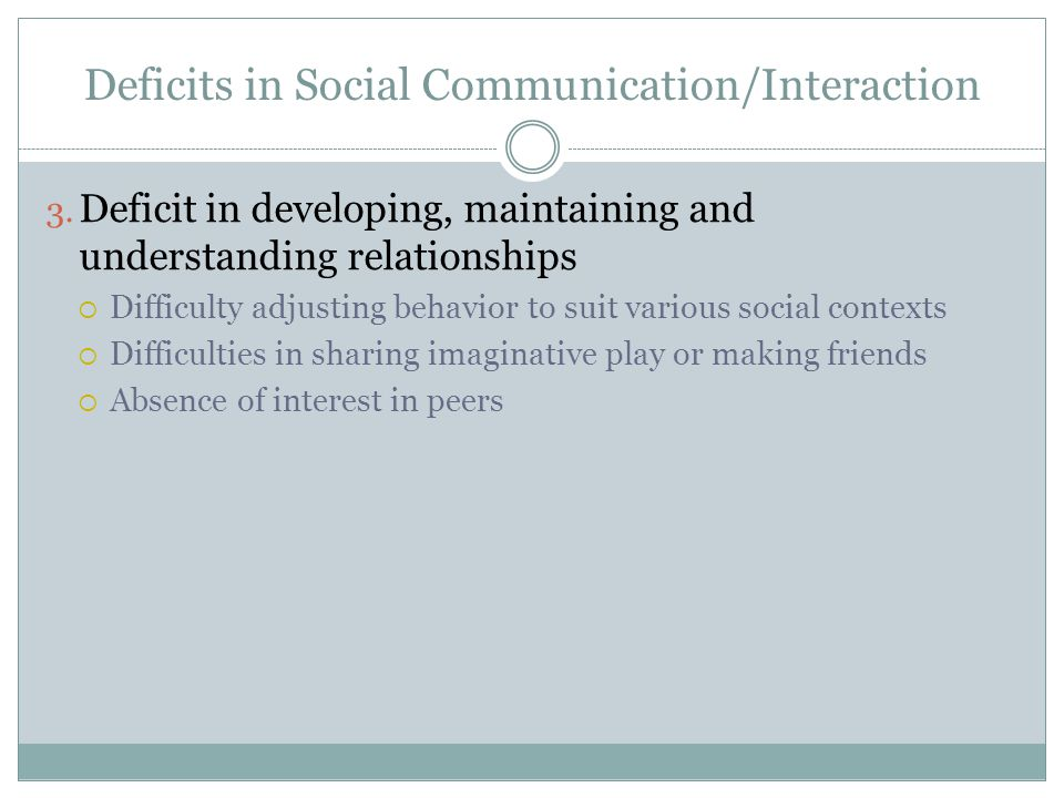 Deficits in Social Communication/Interaction 3.