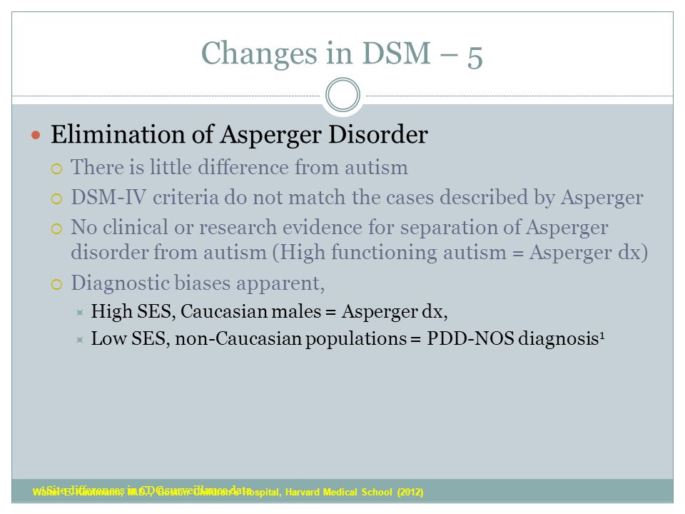 Changes in DSM – 5 Elimination of Asperger Disorder  There is little difference from autism  DSM-IV criteria do not match the cases described by Asperger  No clinical or research evidence for separation of Asperger disorder from autism (High functioning autism = Asperger dx)  Diagnostic biases apparent,  High SES, Caucasian males = Asperger dx,  Low SES, non-Caucasian populations = PDD-NOS diagnosis 1 1 Site differences in CDC surveillance data Walter E.