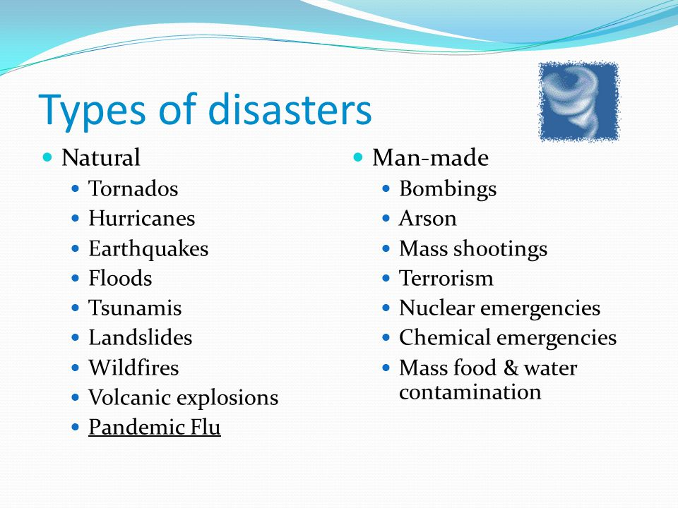 Types of disasters Natural Tornados Hurricanes Earthquakes Floods Tsunamis Landslides Wildfires Volcanic explosions Pandemic Flu Man-made Bombings Ars