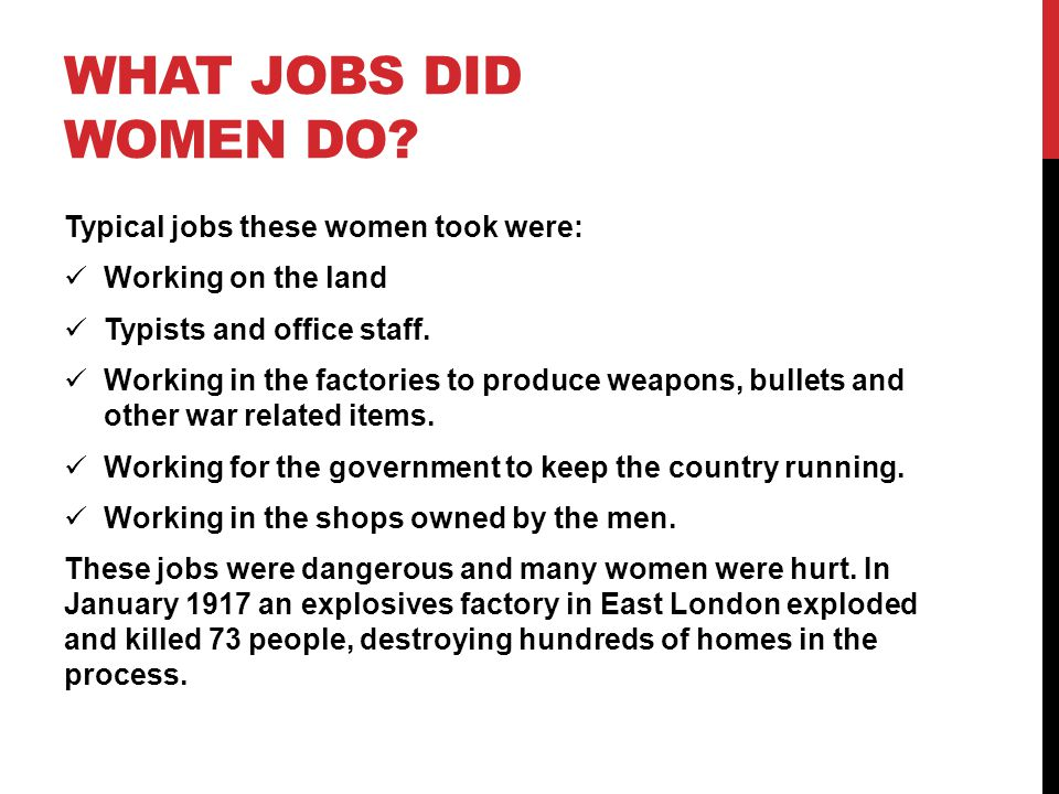 WHAT JOBS DID WOMEN DO.