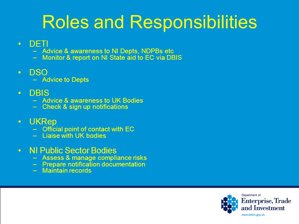 Roles and Responsibilities DETI –Advice & awareness to NI Depts, NDPBs etc –Monitor & report on NI State aid to EC via DBIS DSO –Advice to Depts DBIS