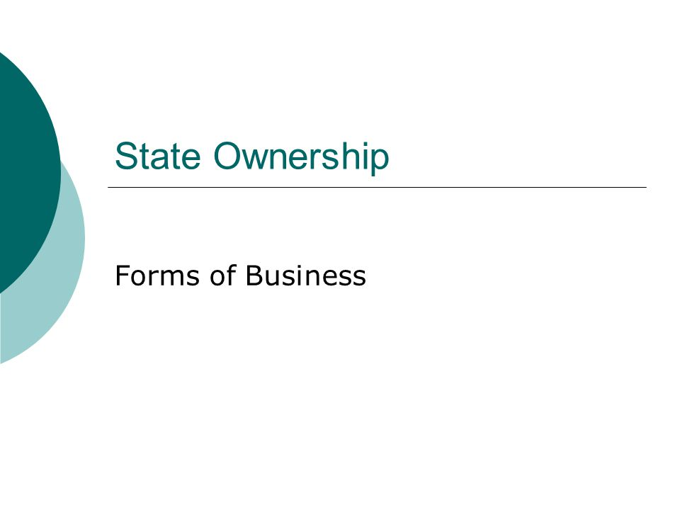 State Ownership Forms of Business