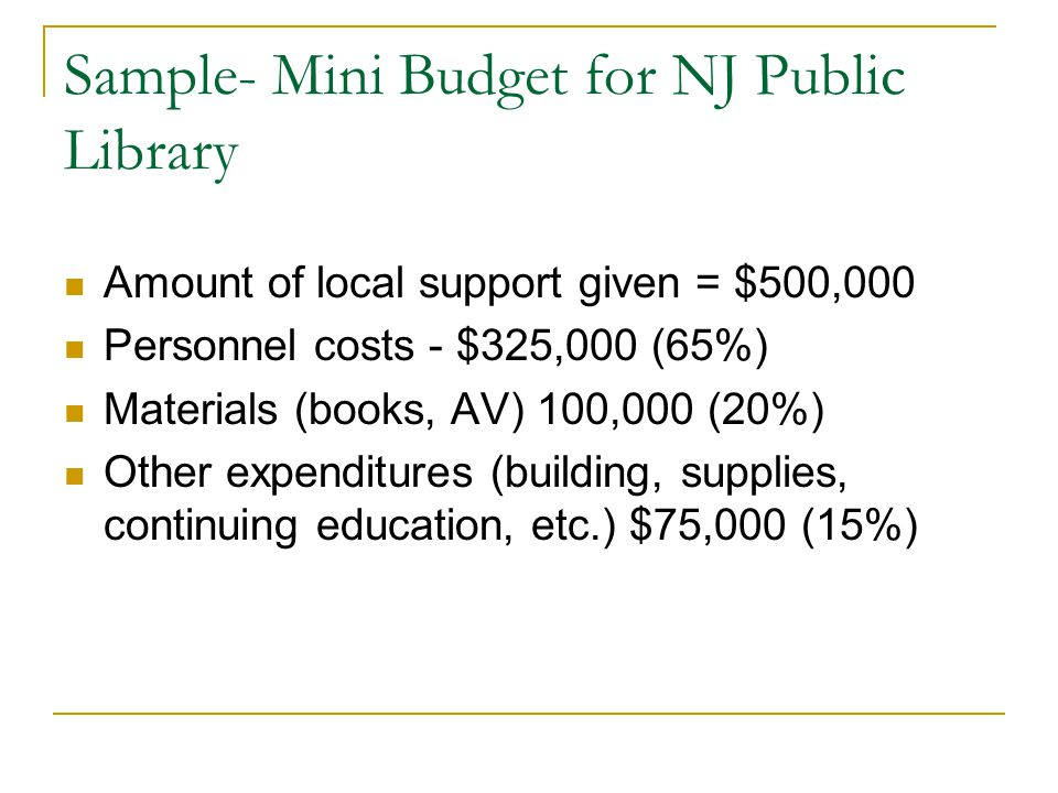Sample- Mini Budget for NJ Public Library Amount of local support given = $500,000 Personnel costs - $325,000 (65%) Materials (books, AV) 100,000 (20%