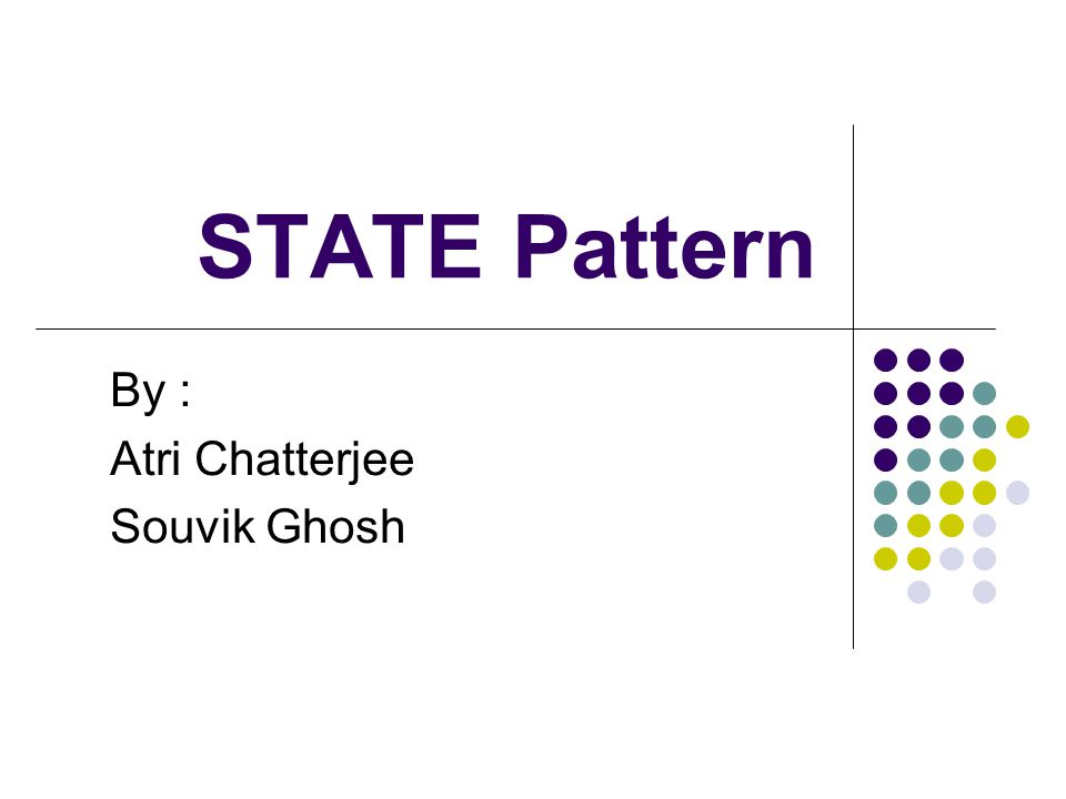STATE Pattern By : Atri Chatterjee Souvik Ghosh