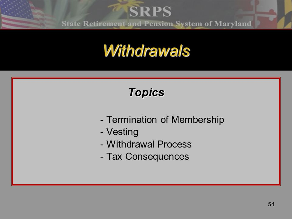 54 Withdrawals Topics - Termination of Membership - Vesting - Withdrawal Process - Tax Consequences