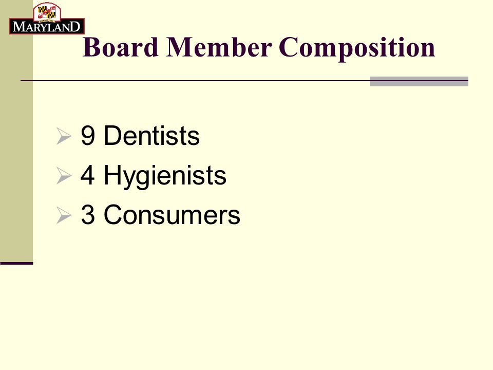 Densest Population of Dentists and Hygienists  Dentists : 29% Montgomery County 14% Baltimore County 11% Prince Georges County  Hygienists: 15% Montgomery County 15% Baltimore County 13% Anne Arundel County