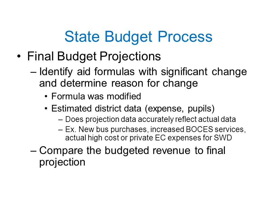 State Budget Process Final Budget Projections –Identify aid formulas with significant change and determine reason for change Formula was modified Estimated district data (expense, pupils) –Does projection data accurately reflect actual data –Ex.
