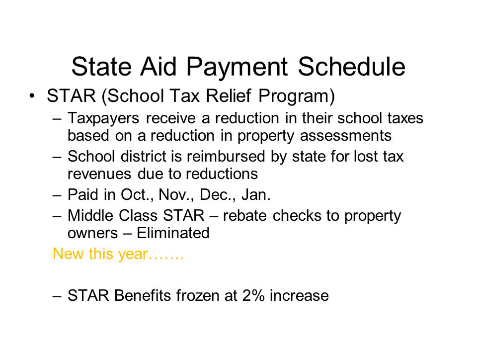State Aid Payment Schedule STAR (School Tax Relief Program) –Taxpayers receive a reduction in their school taxes based on a reduction in property assessments –School district is reimbursed by state for lost tax revenues due to reductions –Paid in Oct., Nov., Dec., Jan.