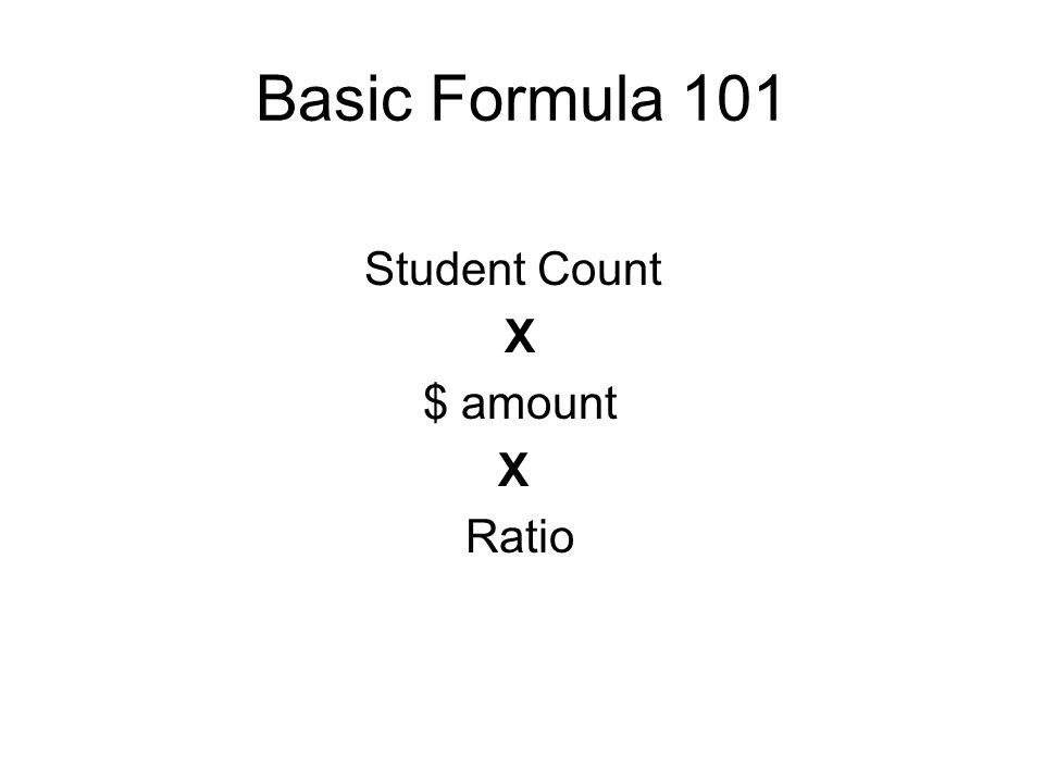 Basic Formula 101 Student Count X $ amount X Ratio