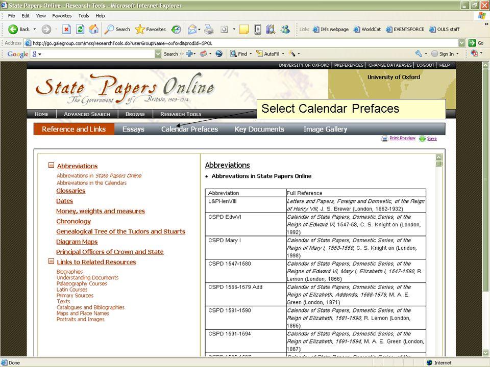 I.D. Holowaty 17 June 2009 Select Calendar Prefaces