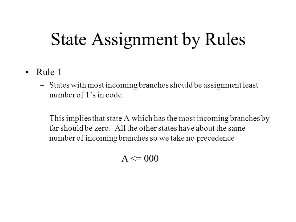 State Assignment by Rules Rule 1 –States with most incoming branches should be assignment least number of 1's in code.