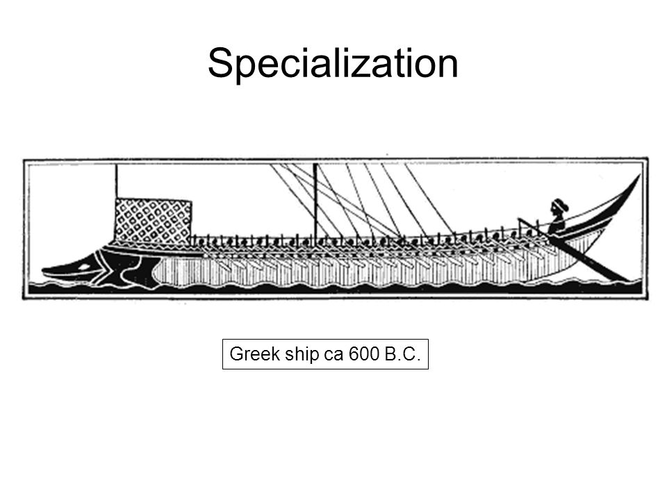 Specialization Greek ship ca 600 B.C.
