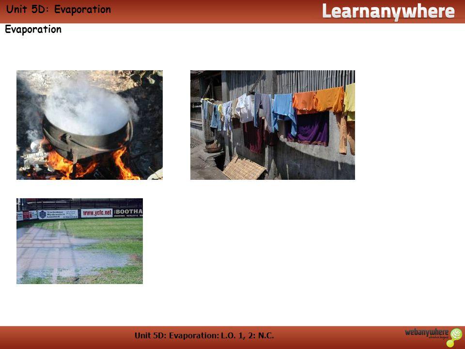 Unit 5D: Evaporation: L.O. 1, 2: N.C. Unit 5D: Evaporation Evaporation