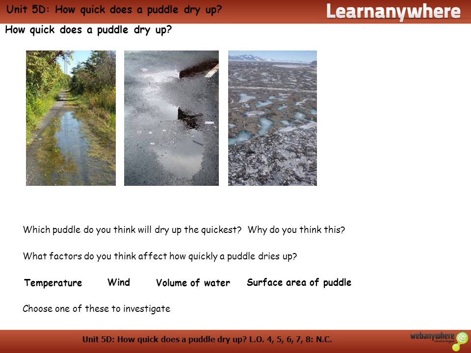 Unit 5D: How quick does a puddle dry up.L.O. 4, 5, 6, 7, 8: N.C.