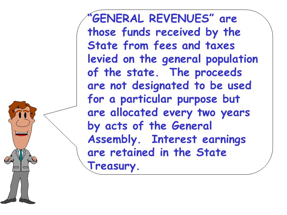 GENERAL REVENUES are those funds received by the State from fees and taxes levied on the general population of the state.