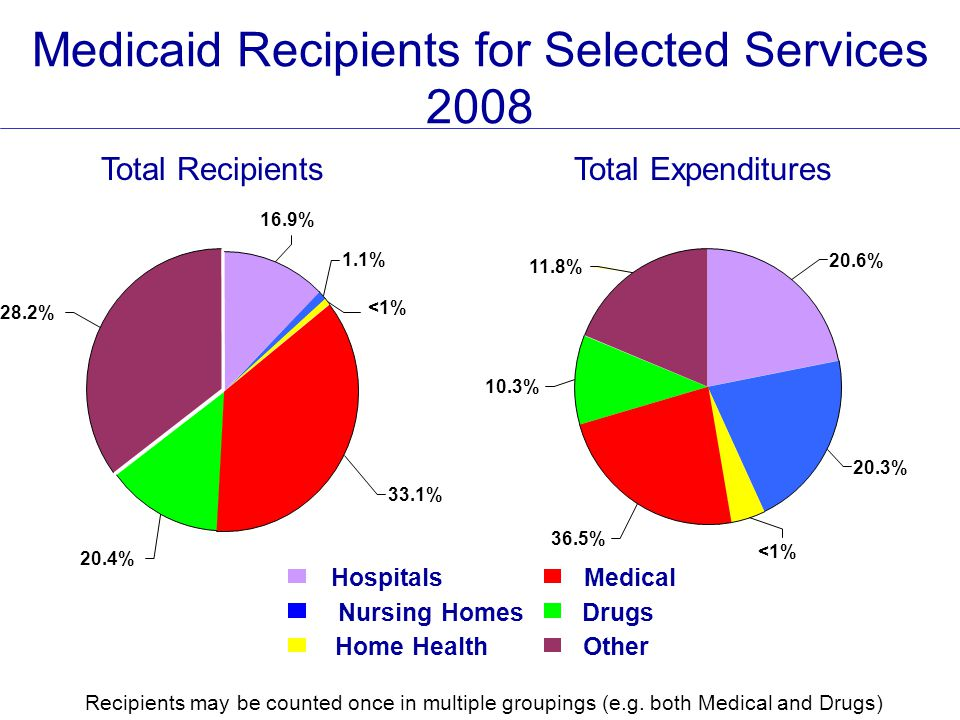Medicaid Recipients for Selected Services 2008 HospitalsMedical Nursing HomesDrugs Home HealthOther Total RecipientsTotal Expenditures 1.1% <1% 16.9% 28.2% 20.4% 33.1% 10.3% 11.8% 20.6% 20.3% <1% 36.5% Recipients may be counted once in multiple groupings (e.g.