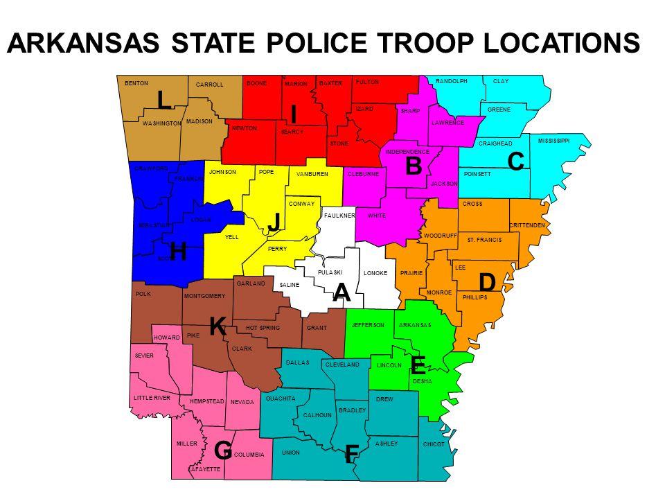 ARKANSAS STATE POLICE TROOP LOCATIONS